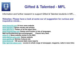 Gifted & Talented - MFL