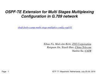 OSPF-TE Extension for Multi Stages Multiplexing Configuration in G.709 network