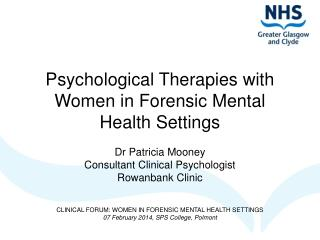 Psychological Therapies with Women in Forensic Mental Health Settings