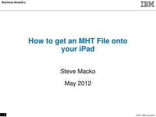 How to get an MHT File onto your iPad