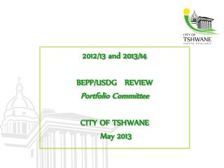 2012/13 and 2013/14  BEPP/USDG   REVIEW  Portfolio Committee CITY OF TSHWANE  May 2013