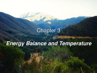 Chapter 3 Energy Balance and Temperature