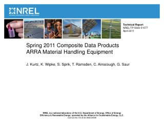 Spring 2011 Composite Data Products ARRA Material Handling Equipment