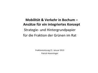 Mobilität & Verkehr in Bochum –  Ansätze für ein integriertes Konzept