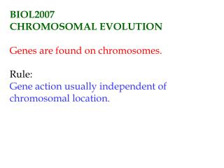 BIOL2007 CHROMOSOMAL EVOLUTION Genes are found on chromosomes. Rule: