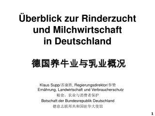 �berblick zur Rinderzucht  und Milchwirtschaft in Deutschland ??????????