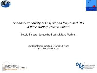 Seasonal variability of CO 2  air-sea fluxes and DIC in the Southern Pacific Ocean