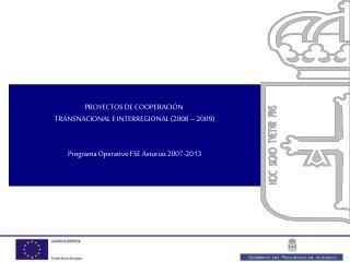 PROYECTOS DE COOPERACIÓN  TRANSNACIONAL E INTERREGIONAL (2008 – 2009)
