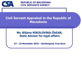 Civil Servant Appraisal in the Republic of Macedonia