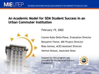 An Academic Model for SEM Student Success in an Urban Commuter Institution