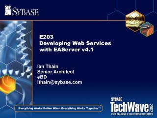 E203 Developing Web Services with EAServer v4.1