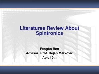 Literatures Review About  Spintronics