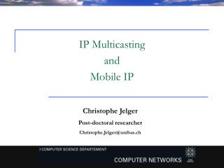 Christophe Jelger Post-doctoral researcher Christophe.Jelger@unibas.ch