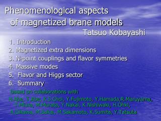Phenomenological aspects     of magnetized brane models   Tatsuo Kobayashi