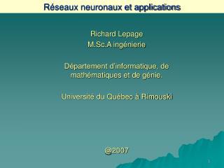 R�seaux neuronaux et applications