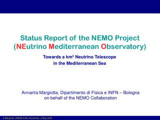Status Report of the NEMO Project ( NE utrino  M editerranean  O bservatory)