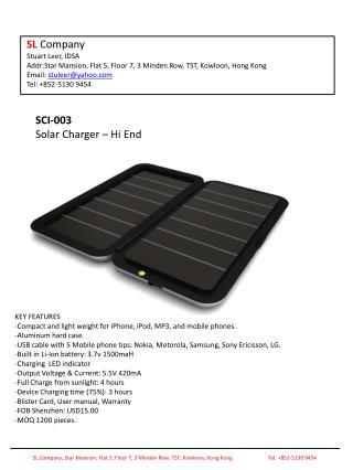 SCI-003 Solar Charger – Hi End