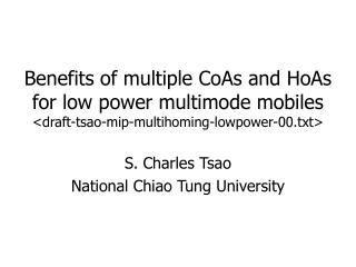 S. Charles Tsao National Chiao Tung University