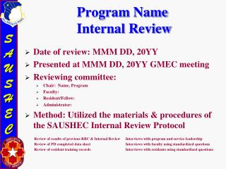 Program Name  Internal Review
