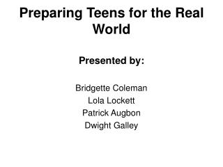 Preparing Teens for the Real World
