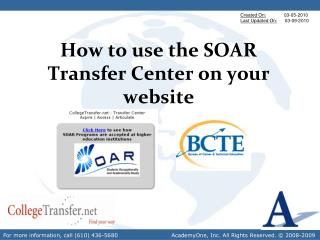 How to use the SOAR Transfer Center on your website