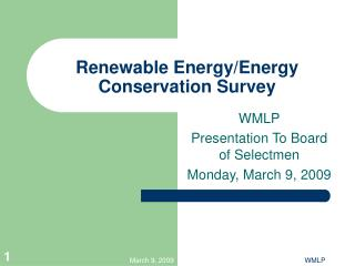 Renewable Energy/Energy Conservation Survey