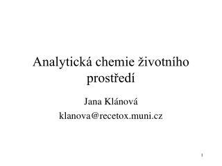 Analytická chemie životního prostředí