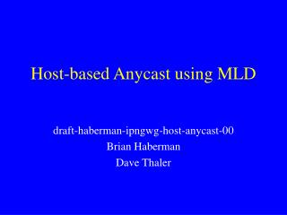 Host-based Anycast using MLD