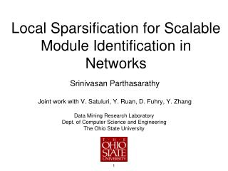 Local  Sparsification  for Scalable Module Identification in Networks