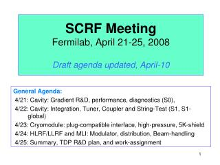 SCRF Meeting Fermilab, April 21-25, 2008 Draft agenda updated, April-10
