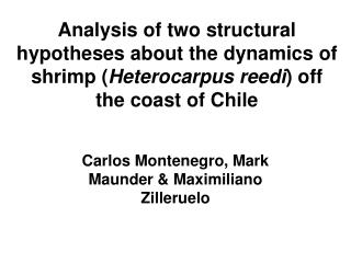 Analysis of two structural hypotheses about the dynamics of shrimp Heterocarpus reedi off the coast of Chile