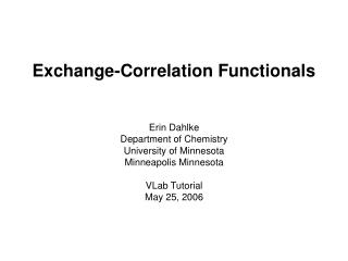Exchange-Correlation Functionals