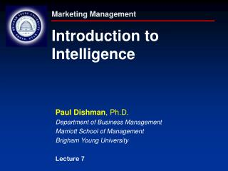 Marketing Management Introduction to  Intelligence
