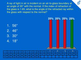 A ray of light in air is incident on an air-to-glass boundary at an angle of 30  with the normal. If the index of refrac