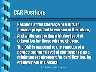 CAR Position: