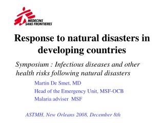 Response to natural disasters in developing countries
