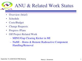 ANU & Related Work Status