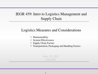 Logistics Measures and Considerations