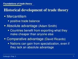 Historical development of trade theory