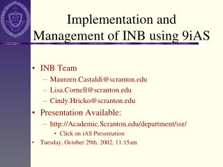 Implementation and Management of INB using 9iAS