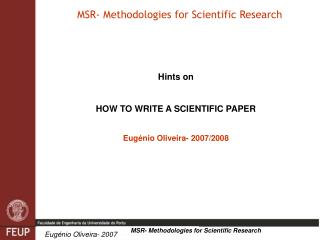 MSR- Methodologies for Scientific Research