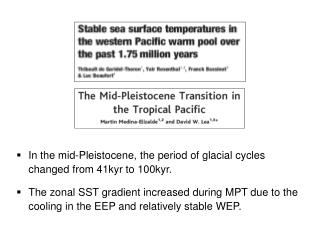 In the mid-Pleistocene, the period of glacial cycles changed from 41kyr to 100kyr.