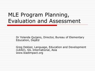 MLE Program Planning, Evaluation and Assessment