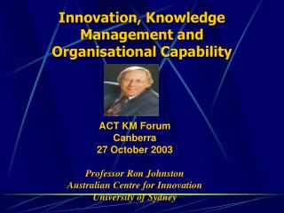 Innovation, Knowledge Management and Organisational Capability