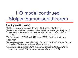 HO model continued: Stolper-Samuelson theorem
