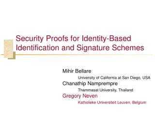 Security Proofs for Identity-Based Identification and Signature Schemes