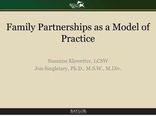 Family Partnerships as a Model of Practice