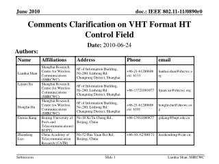 Comments Clarification on VHT Format HT Control Field