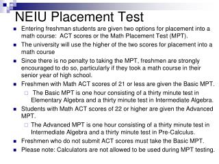 NEIU Placement Test