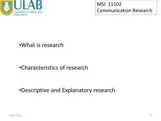 MSJ  11102 Communication Research